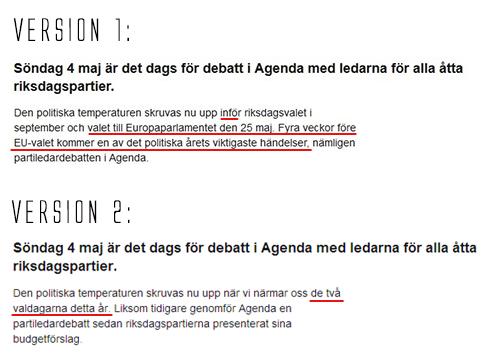 SVT agenda v1 och v2